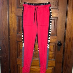 PINK Red & Black sweatpants